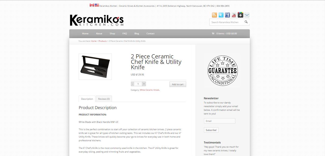 keramikos knives product page